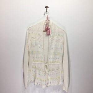 Anthro Moth cream crochet beaded sweater cardigan